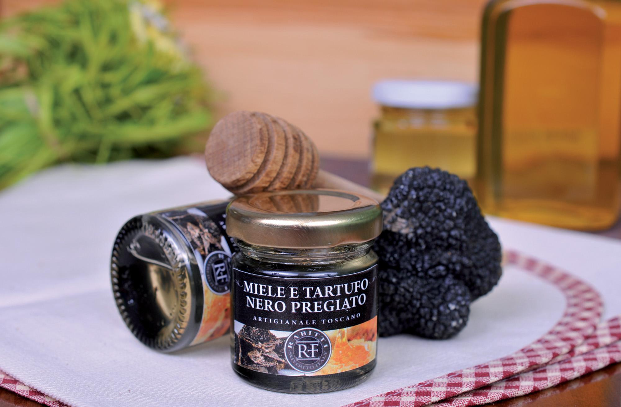 Truffelhoning met Pregiato zwarte truffel van Azienda Agricola Rabitti truffelproducten